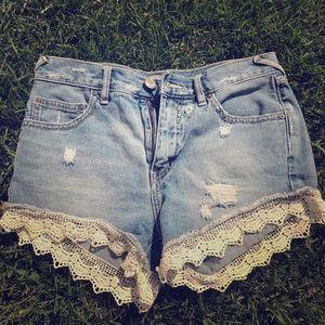 Free People Fringe Cutoff Jean shorts, 25